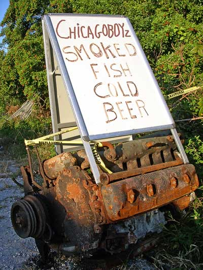 chicagoboyz smoked fish cold beer marketing sign