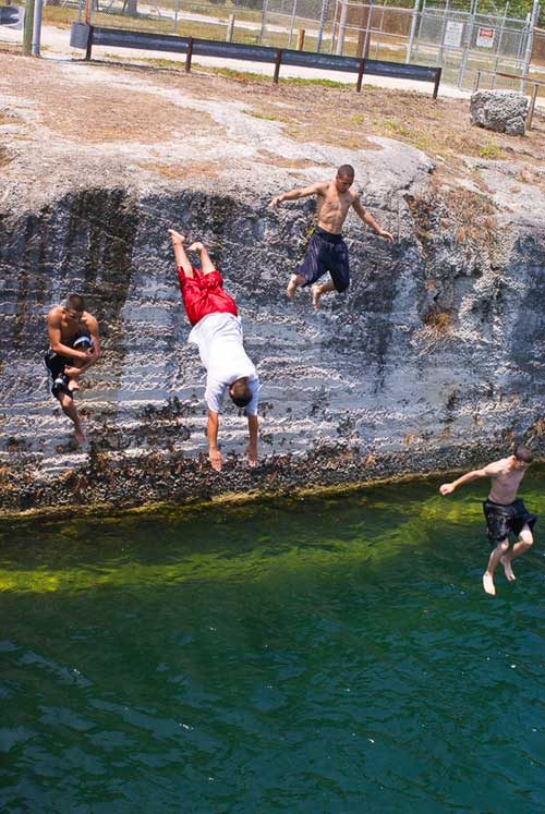 jumping into canal