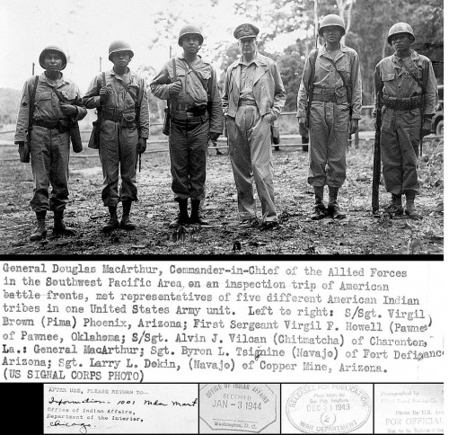 General Douglas MacArthur with Native American Alamo Scout course graduates Jan 1944 (Signal Corps Photo via Wikipedia)
