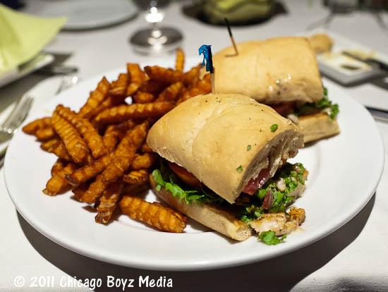 blackened dolphin sandwich & sweet potato fries