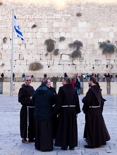 Franciscan monks at the Western Wall.