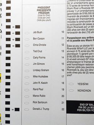2016 Florida Republican presidential primary ballot
