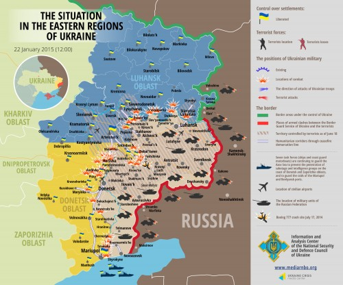 Ukrainian Defense Ministry Donbass Situation Map, Early January 2015