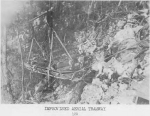 81st Infantry Division's Aerial Tramway Moving Supplies on Peleliu, Sept - Nov 1944