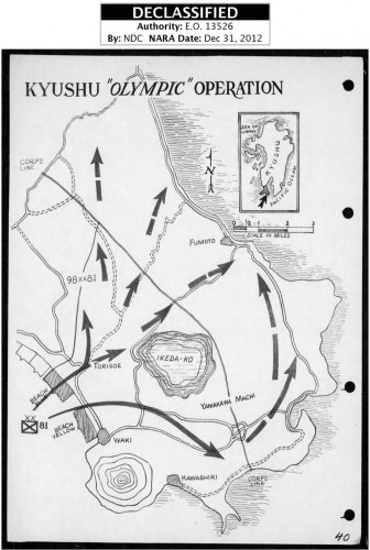 The Landing Map of the 81st Infantry Division in Operation Olympic
