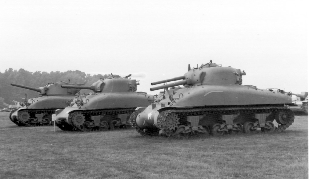 Prototypes of three M4 Flame Tanks Designs Under Construction on August 9th 1945