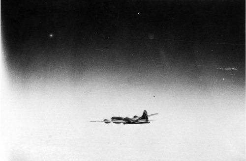 B-29 Bockscar headed to Japan with the atomic bomb Fat Man on board