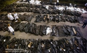 The morgue filled with the Victims of the  Beslan Terrorist Attack..