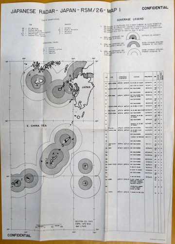 This is a SWPA GHQ Section 22 Japanese radar coverage map. The circles on the map are detection ranges of a formation of six B-24 bombers at low, medium and high altitudes. The table on the right of the photo lists radar locations, types, radar frequencies and intelligence reliability and last date of detection.