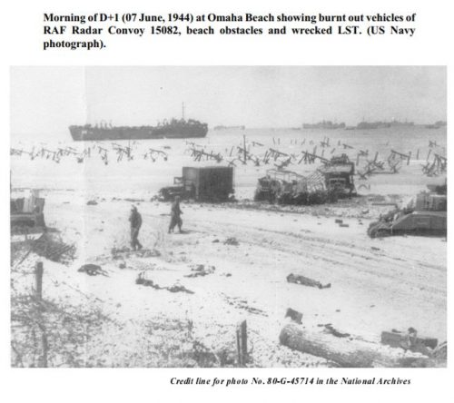 Destroyed RAF Radar Convoy 15082 on Omaha Beach Source: Horace R. (Red) Macaulay Chapter 11, RCAF Radar History