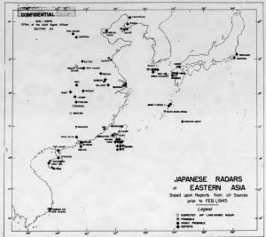 Map of Japanese radars located in North East Asia from Section 22 Monthly radar report dated 1 Feb 1945