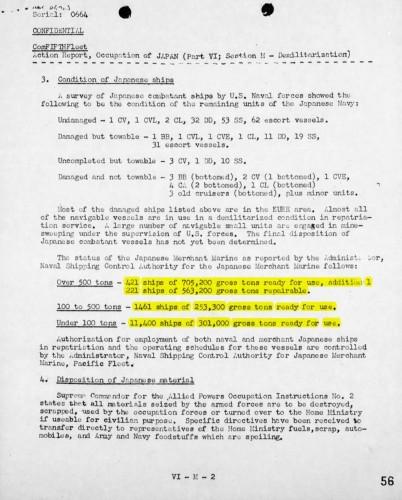 Japanese Merchant Fleet status 11 Sept 1945 -- Source: FIFTH FLEET Action Report, Occupation of JAPAN Aug 15, 1945 thru Sept. 8, 1945 (Part VI ; Section M - Demilitarization) Page VI-M-2 (56)