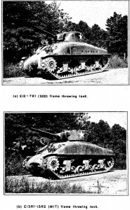 M5-4 (E12-7R1) and E13-13R2 flamethrowers in M4A1(76) tank