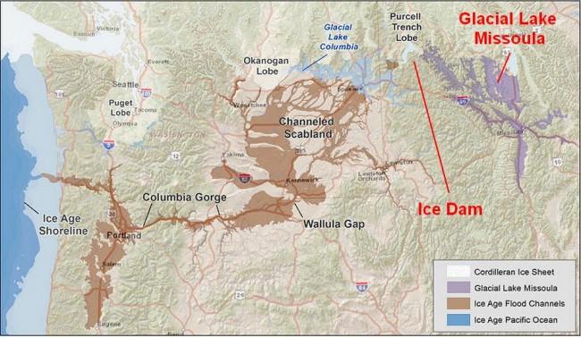 Glacial flood map, 17,000 - 15,000 years ago