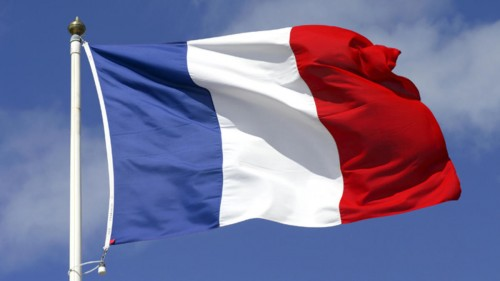 French Tricolor blue sky