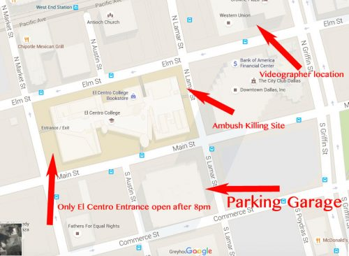 <strong>Google map of shooting area in downtown Dallas. </strong>