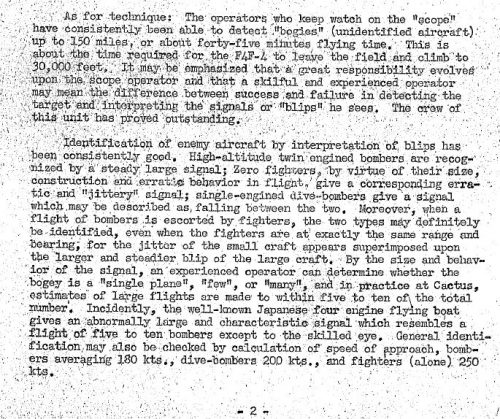 "Page 2 of ""Confidential notes on the maintenance and operation of SCR-270, compilation of,"" dated 7 October 1943. source USMC History Archives, courtesy of MACCS History"
