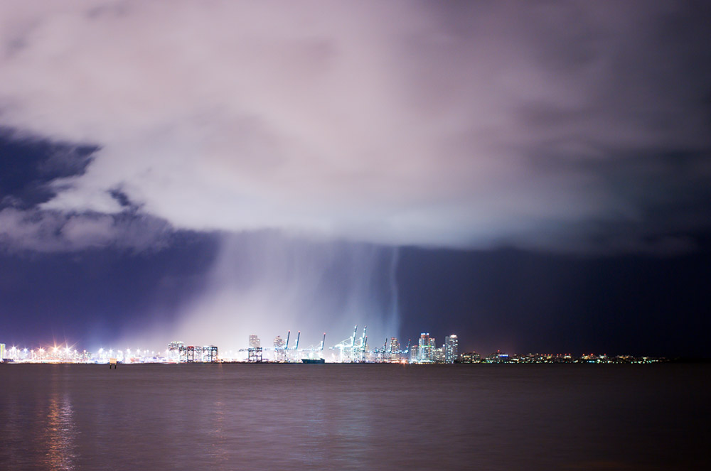Night Rain Shower Over Port of Miami