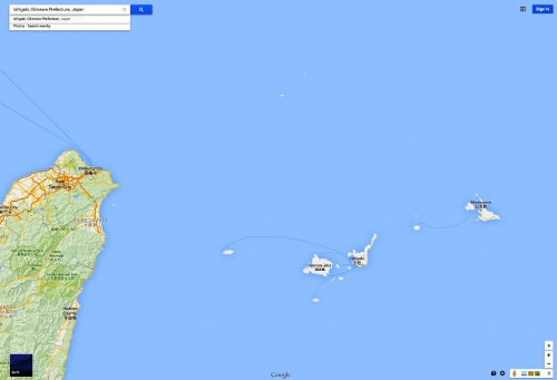 A Google map of Miyako and Ishigaki islands, part of the Okinawa Prefecture.  They are now to be the site of mobile anti-ship cruise missile batteries.as well as ground troops to secure them