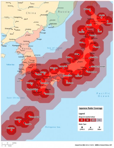 The map of the Japanese Air Self Defense Force Radar Network as of 2007