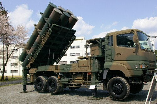 JGSDF Type88 Anti-ship cruise missile in truck mobile launcher.  Batteries of which are to be deployed to the Southern Ryukyus islands.