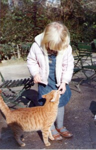 Blondie with Zappion Gardens cat
