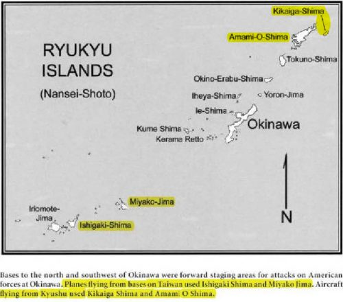 The yellow highlighted names on this map show island in the Ryukyu chain that hosted Japanese air bases that were used through out the 83 day Okinawa campaign as staging areas for kamikaze, spotter and snooper aircraft. These bases were never fully suppressed by American or British air strikes.