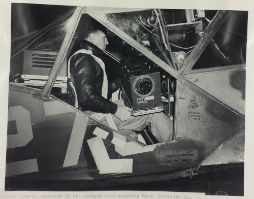 "<strong>This is a photograph of the installation of block III TV Camera in the Stinson L-5 Sentinel. This aircraft  was a World War II era liaison aircraft used by all branches of the U.S. military and by the British Royal Air Force.  It was slated to play the role of a ""Manned UAV"" providing live television of the invasion of Japan.</strong>"