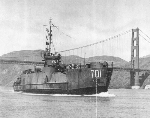 Landing Craft Infantry, Large, 701.  One of the four small landing ships to make up TASK GROUP 70.4 in February 1945