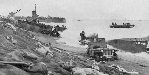 LST & LVT on Iwo Jima beach