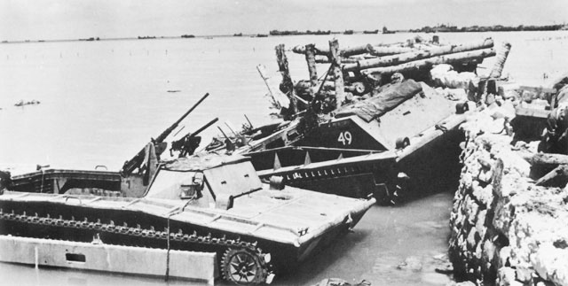 Two destroyed LVT's in the Tarawa Lagoon in 1943.  They lacked radios and their crews were untrained in US naval visual signals