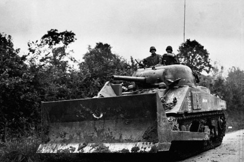 A M4 Sherman Tankdozer in France on August 7, 1944