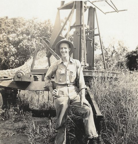 MTSgt Dermott H. MacDonnell at base of SCR-270 radar on Guadalcanal