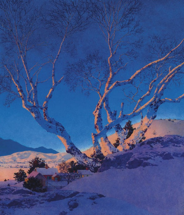 Maxfield Parrish_BirchesInWinter
