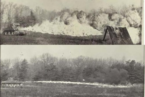 Mech Flame Throwers E4-5 (1944) firing thin and Napalm thickened fuel