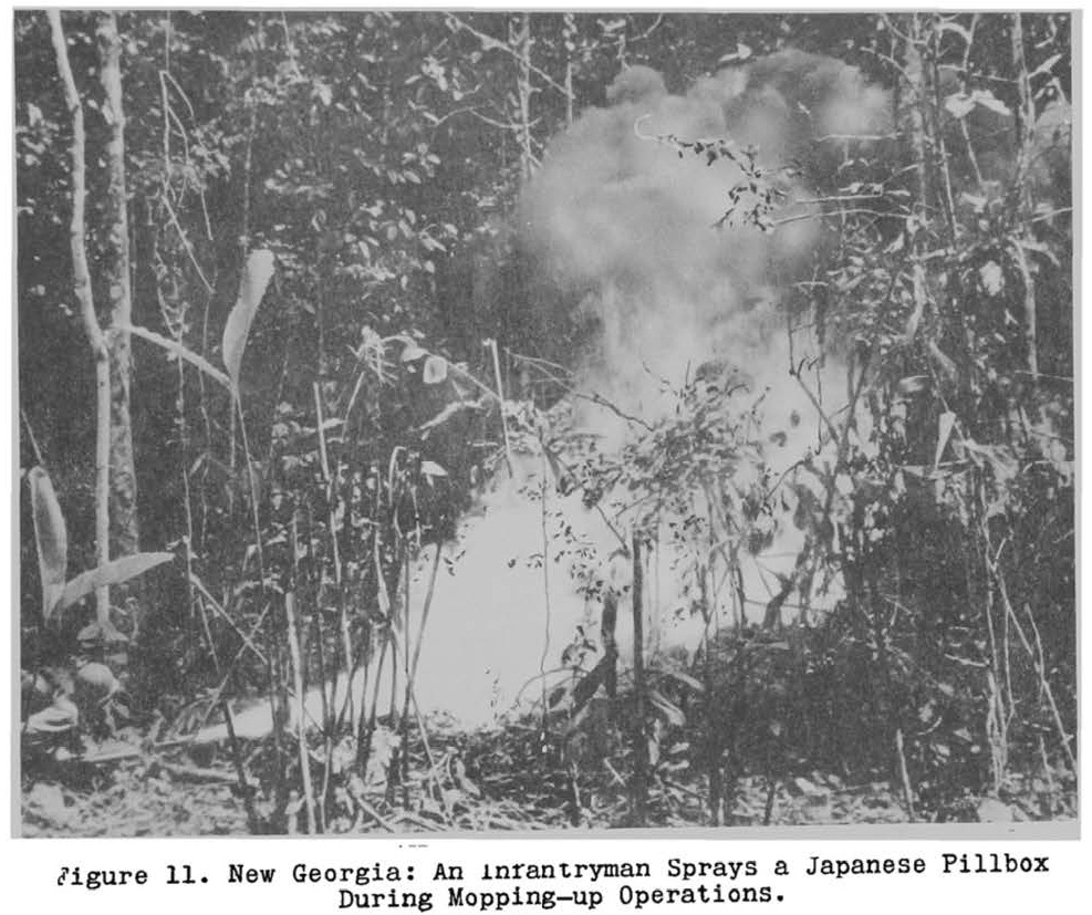 New Georgia thin flame fuel attack -- from 'Portable flame thrower operations in World War II '