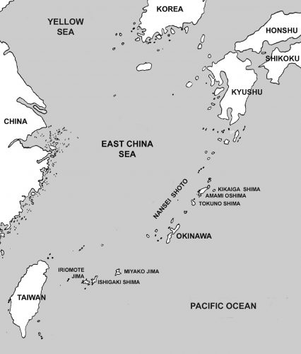 This is a map of the Ryukyu Island chain with Okinawa at the lower center-right. It's location would allow American airpower to dominate the sea lanes from China and Korea to Japan. Phase III of Operation Iceberg was to capture Miyako Jima for the RAF Bomber Command Tiger Force as well as Kikaiga Jima, Amami Oshima and Tokuno Shima for fighter bases to cover the Operation Olympic landings on Kyushu.