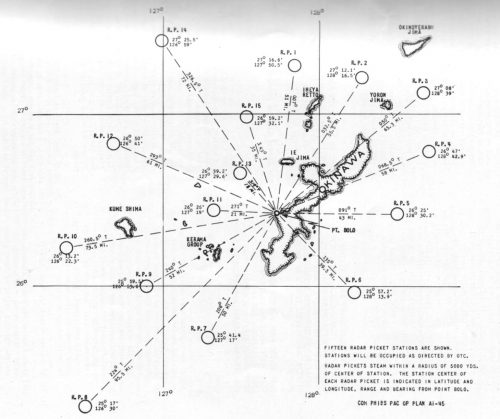 This is a map of US Navy Radar Picket Destroyers at Okinawa taken from US Navy planning documents.