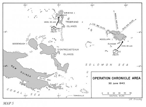 "Map 5  Operation CHRONICLE Area 30 June 1943 -- Source: US Army in World War 2, ""Cartwheel: The Reduction of Rabaul"""
