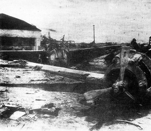 Destroyed P-35 Fighters in the aftermath of the December 8th 1941 attack
