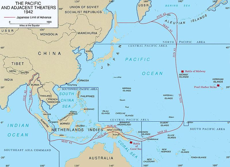 Pacific Theater Areas Map for 1942