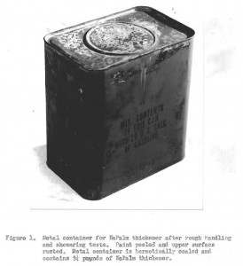 Packaging of Napalm Thickener for Overseas Shipment -- Source: Chemical Warfare Board Proj. 667, June 5, 1945