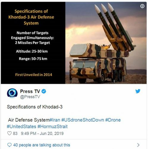Press TV Tweet of Iranian SAM