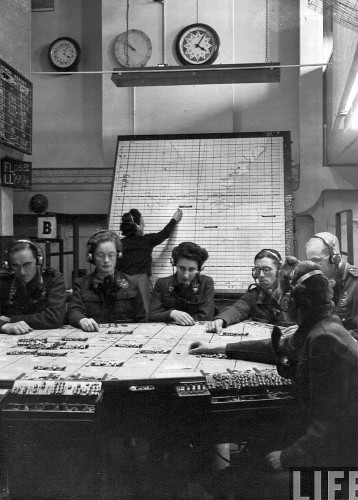 RAF Plotting Room with grid-coordinate reporting filter and operations maps.