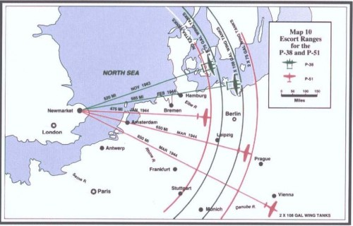 "FIGHTER RANGE CHART 10 -- ""Carl A. Spaatz and the Air War in Europe"""