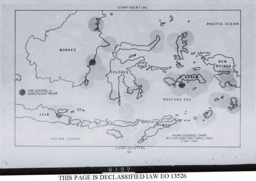 Ratel (Radar intelligence) No. 5, May 8, 1945 radar coverage map of the Dutch East Indies made with intelligence provided by General MacArthur's Section 22 Radar 'Boffins'.