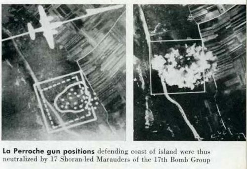 The BDA photo on the left and the SHORAN strike photo on the right are from Pg 51 from Radar Magazine No. 10. They show an April 1945 air strike on a stay-behind Nazi coast Defense position blocking the use by allied ships of port of Bordeaux, France