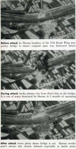 This before, during and after series of a Shoran bridge strike photos is from Pg 53 from Radar Magazine No 10.