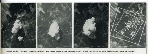 These are SHORAN strike photos and bomb damage assessment (BDA) taken from pg 47 from Radar Magazine No 10. The BDA shows three point targets (circles) the inner box target for the bomb pattern and the outer boundsquare within 600 yards of the Shoran aim point. This performance was better than the Norden bomb sight in that there was no clear high-contrast aim point to use a Norden sight for this attack.