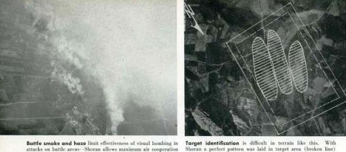 The Shoran strike photo on the left and the BDA on the right are from pg 54 from Radar Magazine No 10. The battlefield smoke in this photo would have been a regular every day occurrence if Kyushu had been invaded.